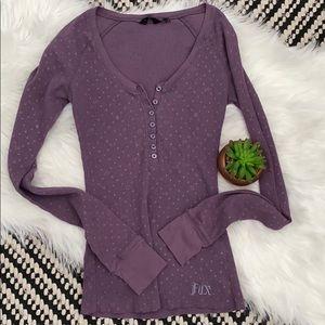 Fox lilac waffle Henley thermal Vneck long sleeve